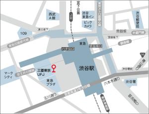 渋谷駅西口の小田急バス4番乗り場(上図、赤いバス停)より「経堂駅」行きのバスに乗ります。 15分程度で「代沢小学校」停留所に着きますので、下車してください。 ※運賃:220円(前払い)